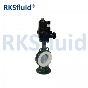 China Chinese butterfly valve PTFE sear PFA disc DN100 4IN electric actuator