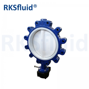 DN40 DN300 PTFE Coated Steel semi Lug Type lugged Butterfly Valve