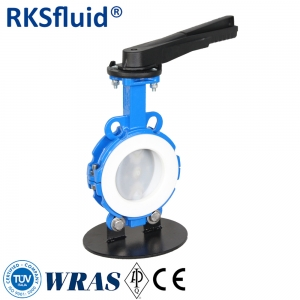 Handles gear box operated PTFE lined PFA coated butterfly valves