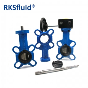 Industrial wafer type butterfly valve worm gear operated butterfly valve