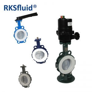 Pneumatic electric actuator customized PTFE seat butterfly valve