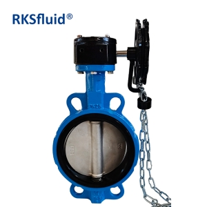 Wafer type Gearbox operated with Chain Wheel Stainless Steel Disc Wafer Butterfly Valves