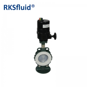 PFA electric actuator butterfly valve with PTFE seat