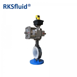 Pneumatic actuator PTFE-coated butterfly valve