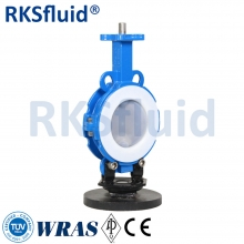 China China Chinese Butterfly valve DN100 4IN PTFE griffin PFA wafer lug bare shaft acid factory