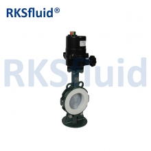 China China Chinese butterfly valve PTFE sear PFA disc DN100 4IN electric actuator factory