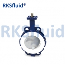 China China chinese butterfly valve DN125 5IN wafer lug PTFE PFA  coated acid alkali application factory
