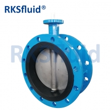 China Resilient seat double flange butterfly valve for water supply factory
