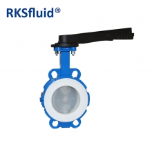 WCB wafer PTFE coated butterfly valves top grade