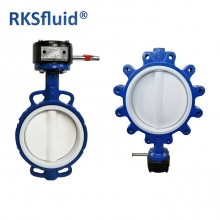 China RKSfluid cast iron body pn10 hardback no pin wafer lug PTFE lined butterfly valve factory