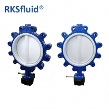 RKSfluid quality with economic price. Type of lug. Butterfly valve completely covered with PTFE cast iron