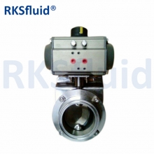 Pneumatic actuator stainless steel food grade sanitary butterfly valve