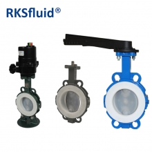 Top grade wafer connection pneumatic PTFE lined butterfly valves