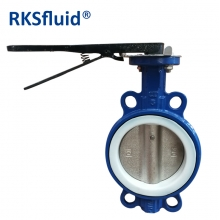 China Wholesale wafer butterfly valve with internal PTFE coating factory