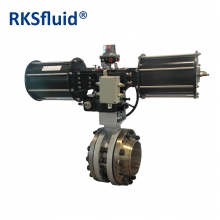Pneumatic actuator triple eccentric offset butterfly valve